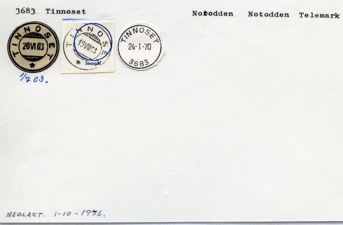 Stempelkatalog 3683 Tinnoset, Notodden, Telemark