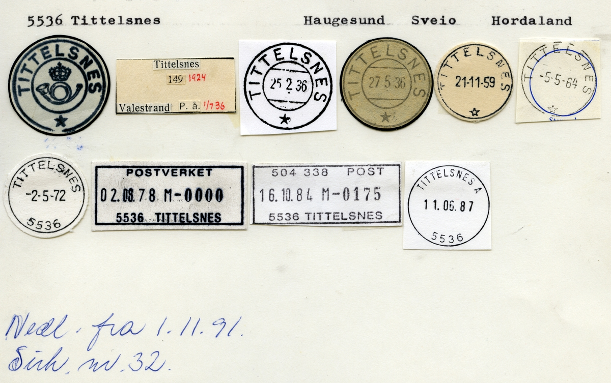 Stempelkatalog 5536 Tittelsnes, Sveio, Hordaland