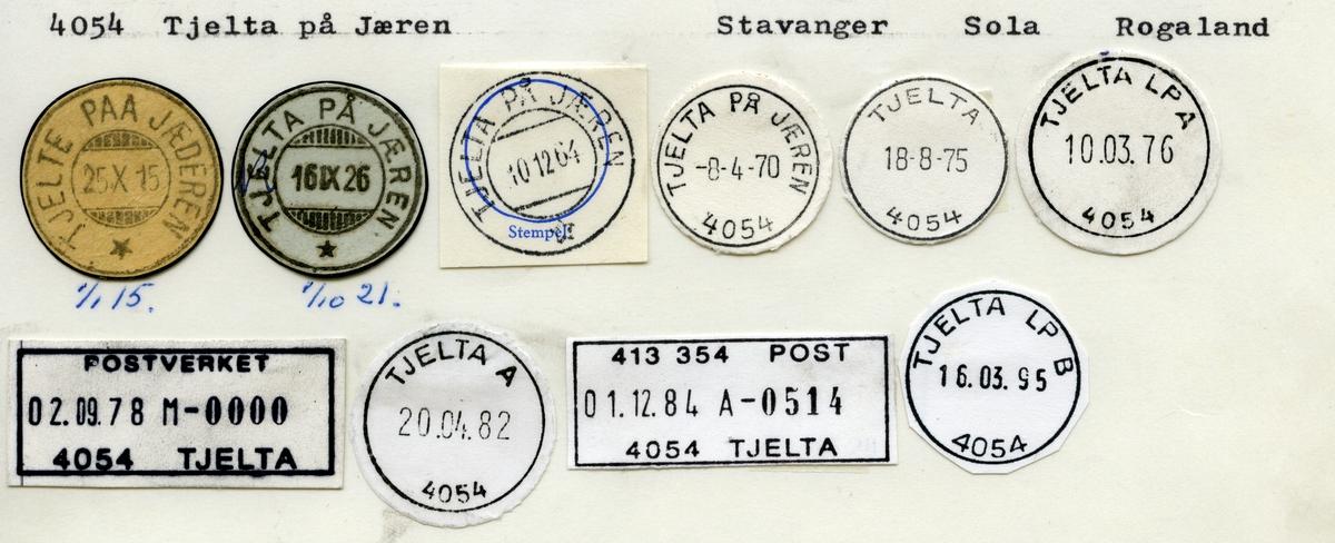 Stempelkatalog 4054 Tjelta på Jæren (Tjelte paa Jæderen), Sola, Rogaland