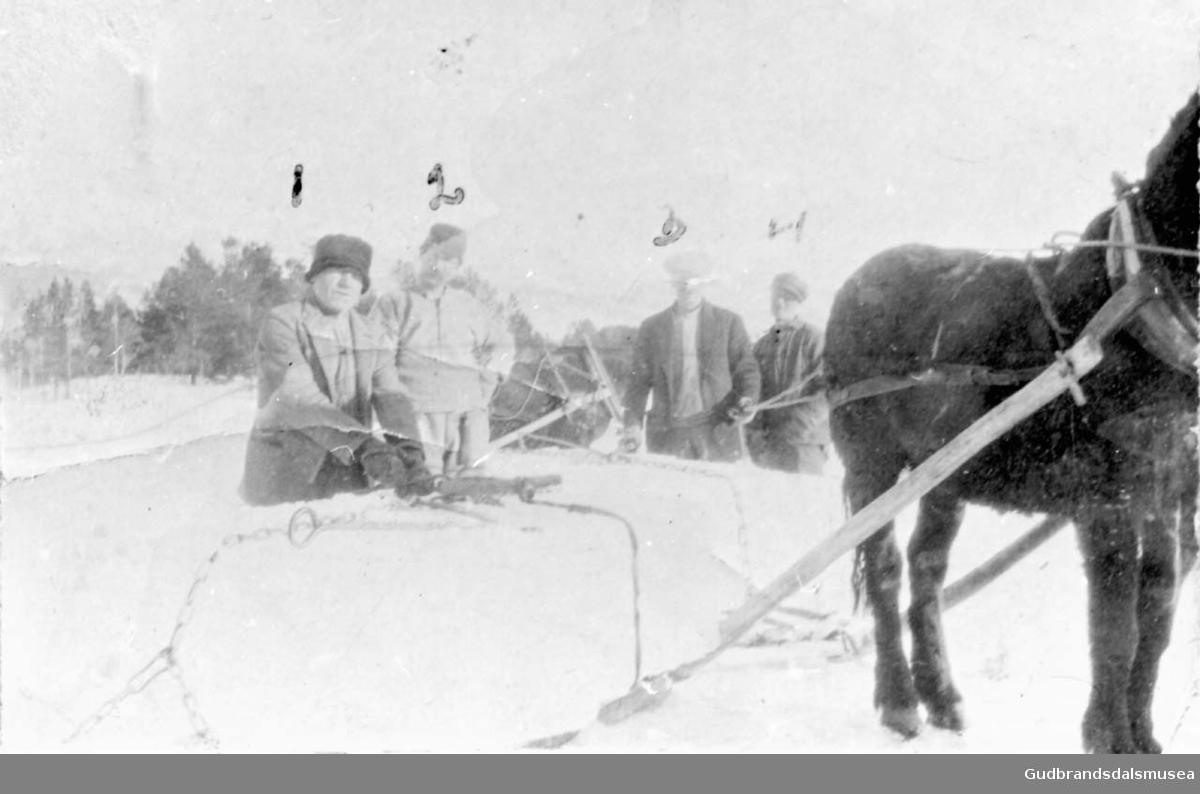 Fire menn med hest og slede, iskjøring på Lesjaskogsvatnet.