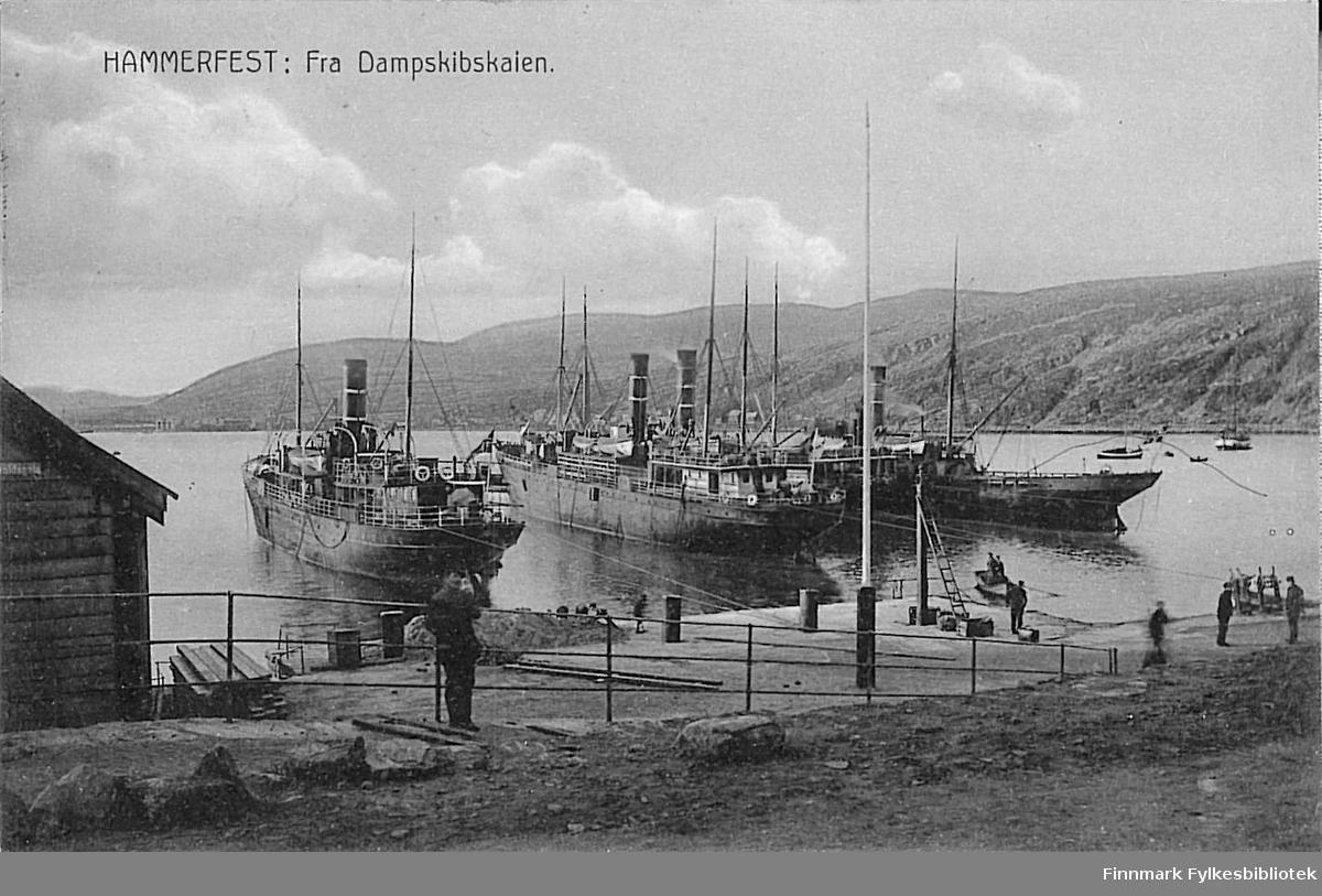 Postkort med motiv fra Dampskipskaia i Hammerfest. Kortet er en nyttårshilsen til Arthur og Kirsten Buck på Hasvik, sendt fra Hammerfest 30. desember 1912.