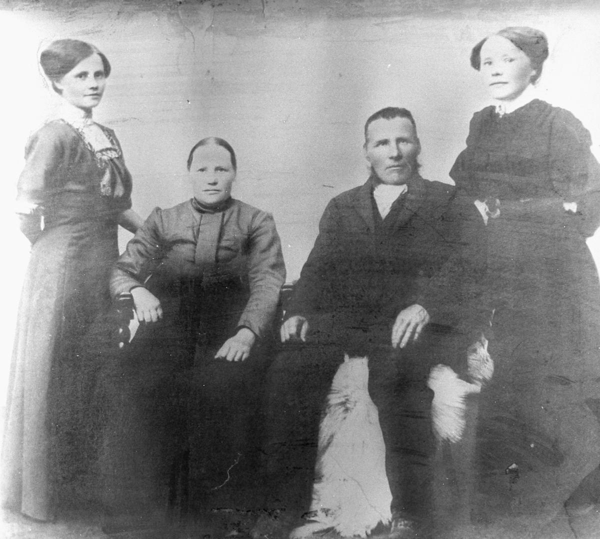 Portrett fra familien Bauna fra Skallelv. Fra venstre: datter Nanna Josefine, senere gift Wickstrøm, mor Maria Kaisa (f.Alatalo), far Lasse og datter Marie Sofie, senere gift Hansen. Foreldrene sitter i mitten og unge damene står på hver sin side av dem.