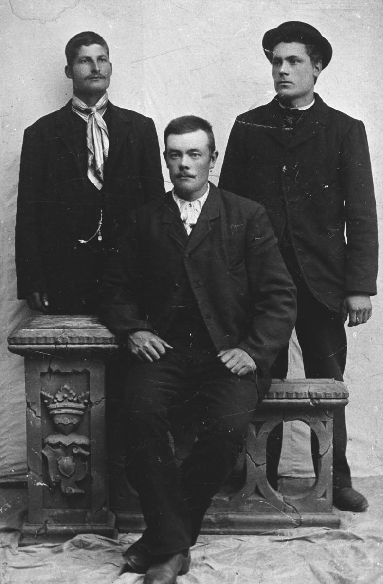 Tre menn fotografert av Einan. Alle ukjente. To av dem står mens en sitter på en gjerde-illustrasjon.