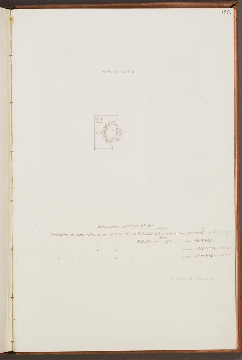 Avbildning föreställande fälttecken taget som trofé av svenska armén. Den avbildade fanan finns inte bevarad i Armémuseums samling.