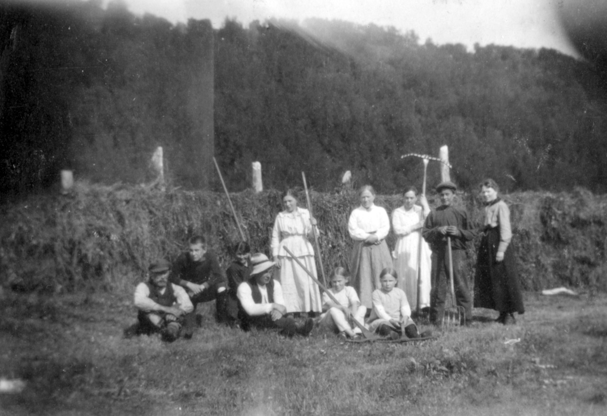 Fra Neiden 1920. Flere kvinner og menn har stilt opp til gruppeportrett. Det sitter enkelte barn på gresset, og flere av gruppens medlemmer holder på raker. I bakgrunnen kan man se høy og skog.