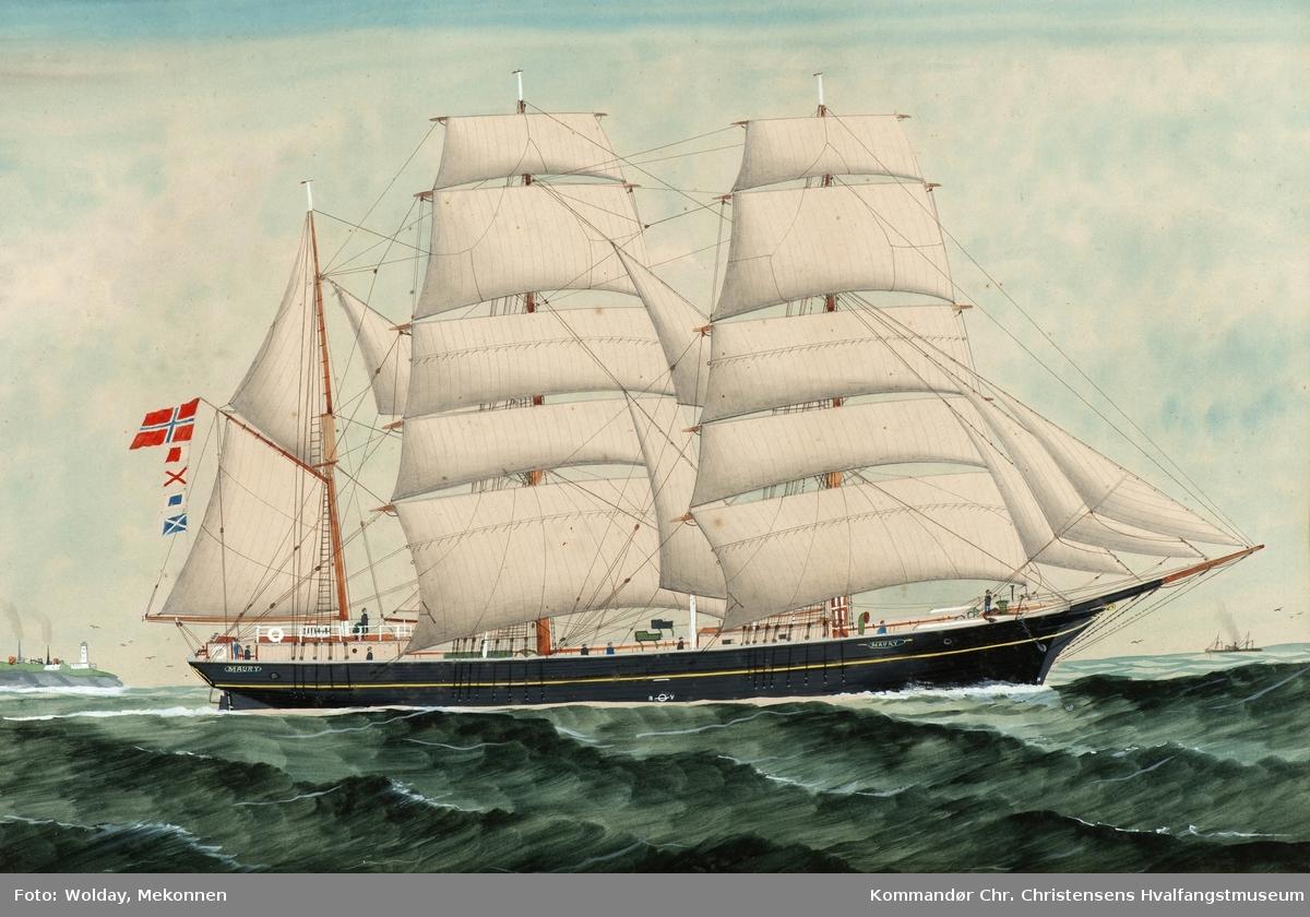 MAURY Nasjon: Norsk Type: Bark Byggeår: 1866 Byggested: Arendal, Norge Verft: A. Dekke Ombygging: Ombygget 1894 Endelig skjebne: Solgt Sverige 1915 s.n.