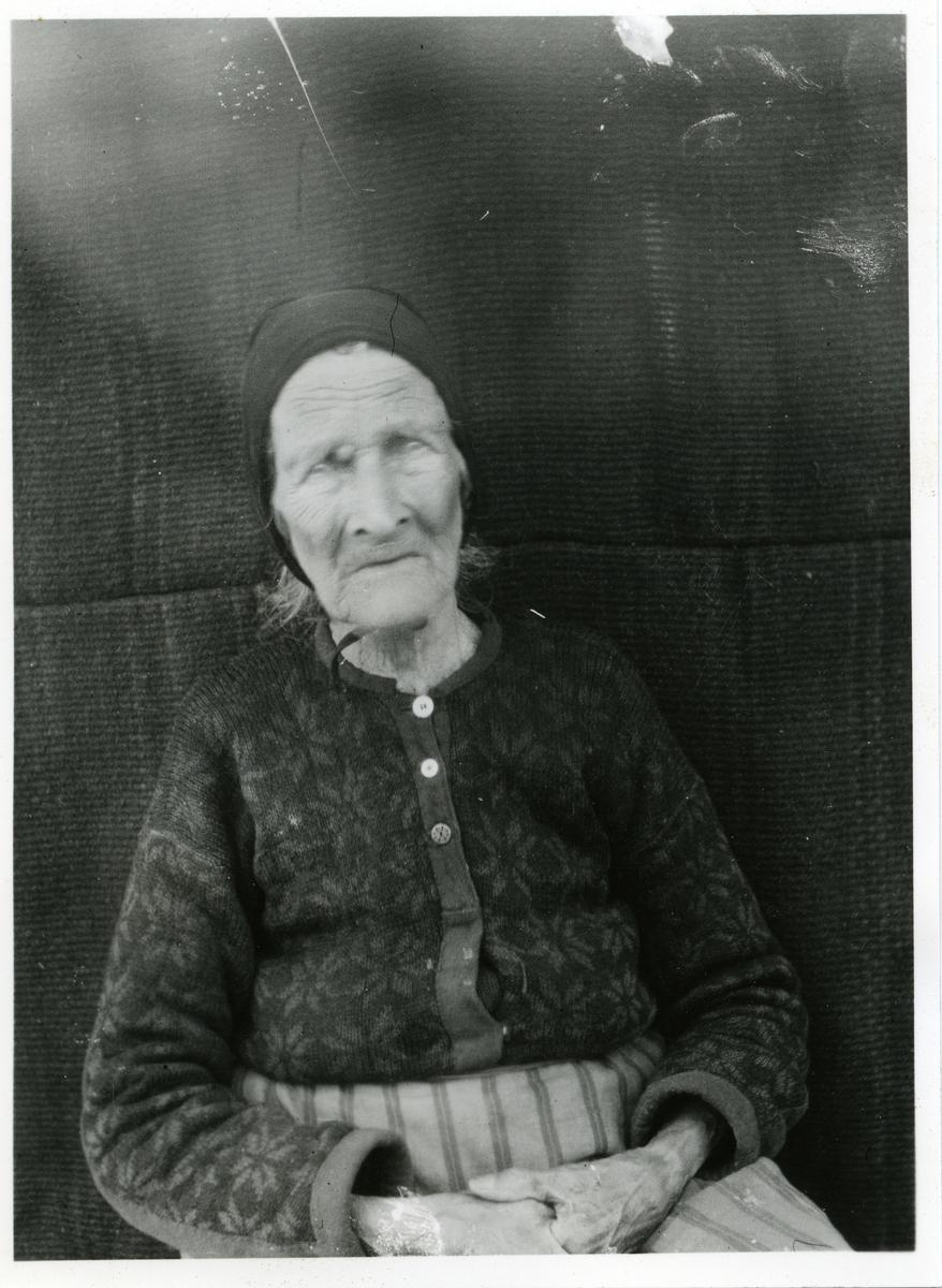 Portrett av en eldre kvinne sittende foran en vegg. Kvinnen er iført et skaut samt en kofte.