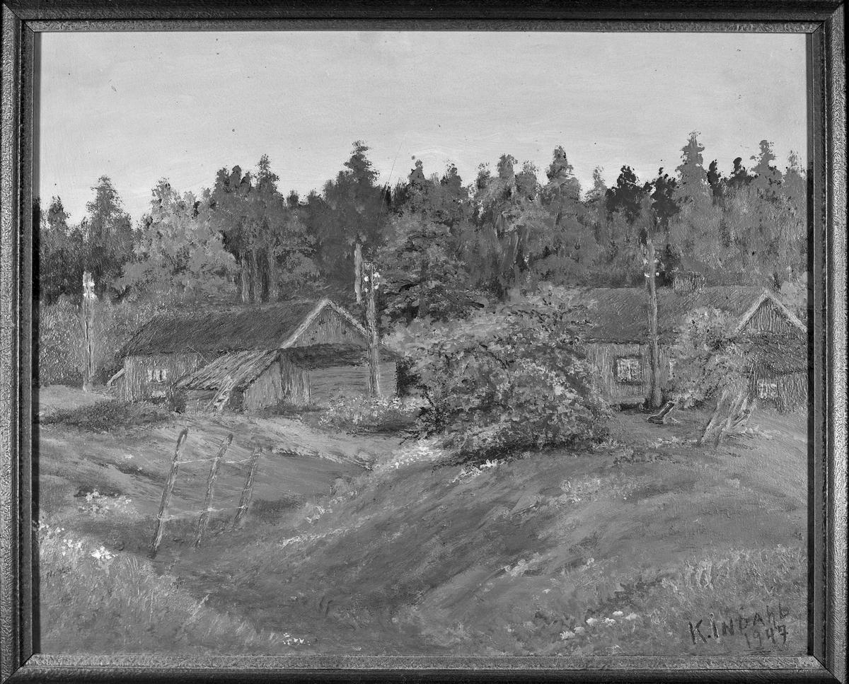 Plassen Grubrud under Saltvedt. Maleri 1947 av K. Indahl