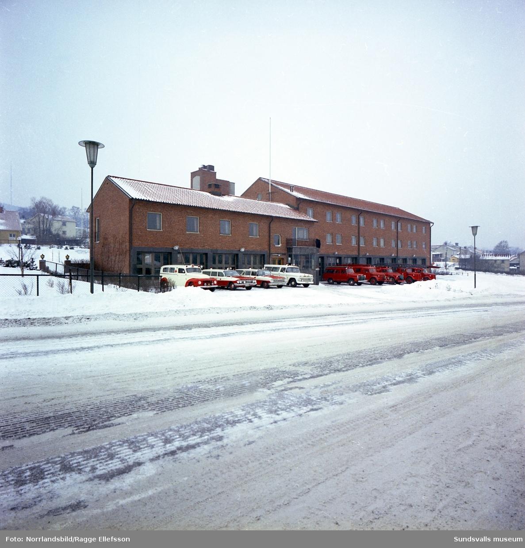 Exteriörbild av brandstationen vid Björneborgsgatan.