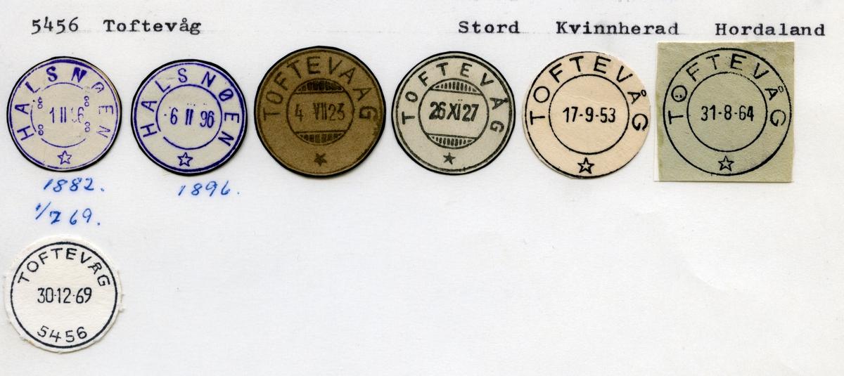 Stempelkatalog 5456 Toftevåg (Halsnøen) Stord, Kvinnherad, Hordaland