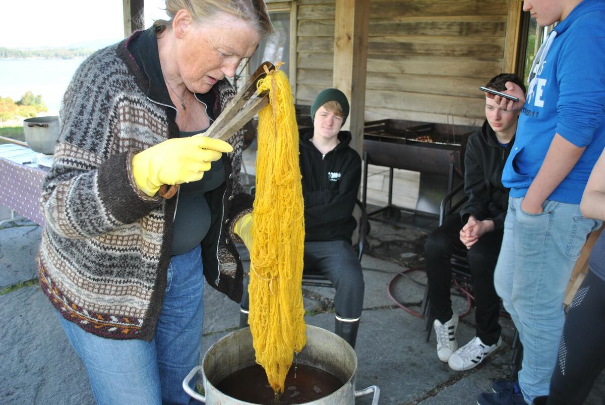 kvinne fargar gult garn i gryte, gutar ser på (Foto/Photo)