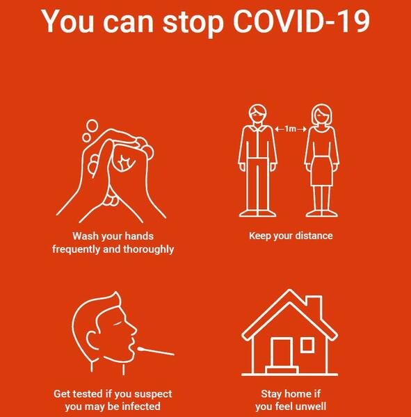 You can stop Covid-19: wash your hands, keep distance, get tested if you feel unwell and stay at home if you are ill.. Foto/Photo