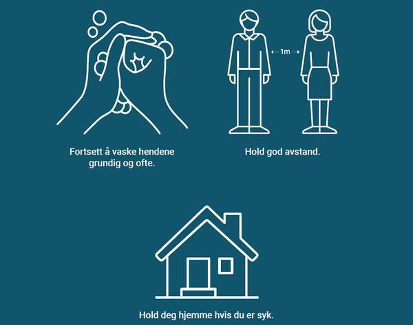 Vask hendene, hold avstand til andre og bli hjemme om du er syk.. Foto/Photo