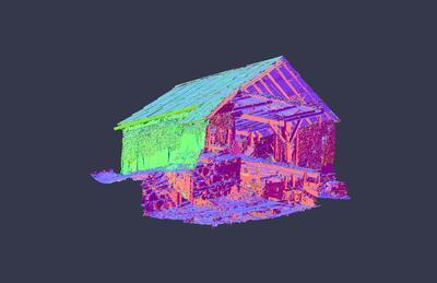 illustrasjon av ein laserskanna bygning sett nedanfrå. Foto/Photo