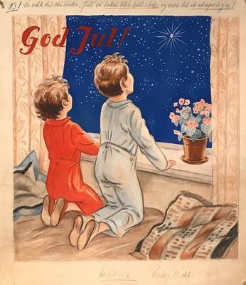 William Lunden, original tegning, God jul magasinforside, 35x40cm, kr 3500 Selges på vegne av familien. (Foto/Photo)