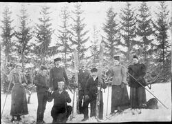 Vintermotiv med personer med ski mot skogsbakgrunn ca. 1895.