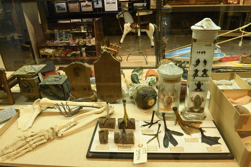 Gjenstandene i samlingen spenner nærmere 1000 år i tid. Fra 1000-tallet til 2000-tallet. Samlingen er svært variert i omfang, fra hele bygninger og skip til småobjekter som smykker og leker. Bildet viser et utvalg fra skolesamlingen museet innehar. FOTO: DINO MAKRIDIS (Foto/Photo)