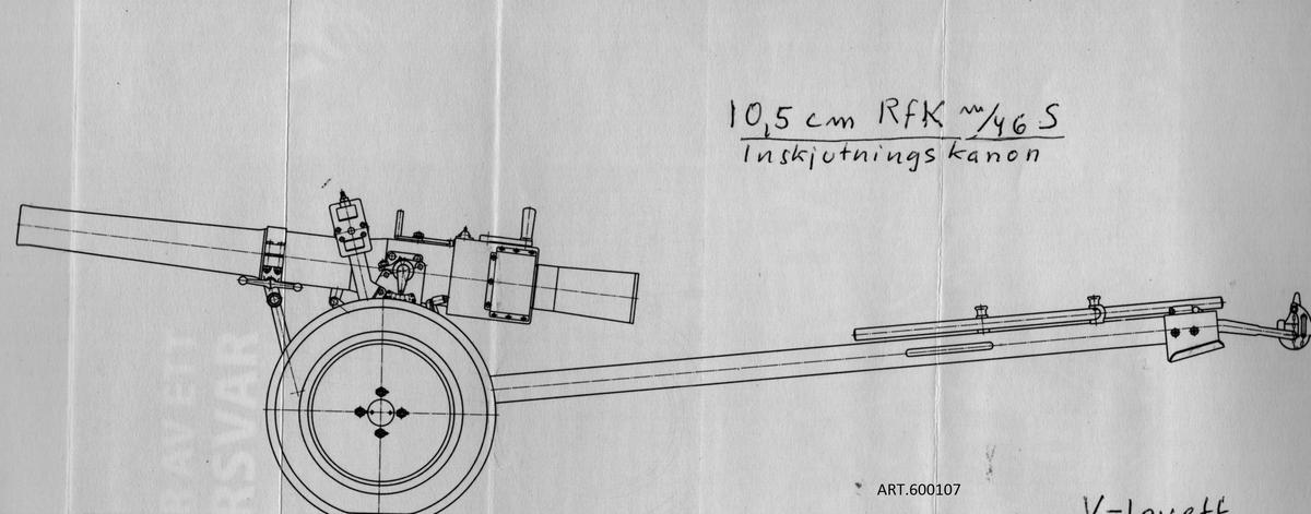 10,5 cm salvkanon m/46. En unik svensk rekylfri 18-pipig kanon tillverkad av Bofors. Systemet med ammunition är det samma som för pansarvärnskanon m/45 och granatgeväret m/48 efter Harald Jentzens konstruktion.  Det är således inte raketartilleri! En provserie på 4 kanoner inklusive en enpipig inskjutningskanon (på en liten 2-hjulig lavett) tillverkades för ett batteri men efter försök 1950 på A9 godkändes det inte för vidare fältbruk. Den var för tung och hade en stor spridning på nedslagen. Alla 4 kanonerna finns kvar en i original i Armémuseums förråd och tre med hoprostade mekanismer som prydnad på olika platser, varav numera en på Artillerimuseet.  Ingen lavett finns bevarad som byggde på chassit till 7,5 cm luftvärnskanon. Artillerimuseet har iordningställt en lavett från en f d luftvärnspjäs men de 4 domkrafterna som utgör stöd vid gruppering är inte av originaltyp. Jämför med bilden av originalet. Pjäsen som prydnadspjäs och viktig att bevara är obrukbar och är   tekniskt skrotförklarad.