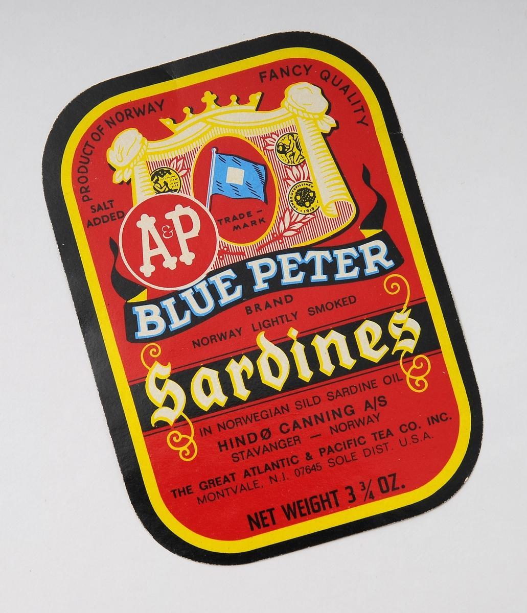 Hermetikketikett, åtte stykker etiketter eller iddiser tilknyttet hermetikkindustrien og produkter som sild, brisling og sardiner. Fire av etikettene er produsert for Eire - med merkenavn Tastea og  Lustre. Ett er laget for det amerikanske markedet - Blue Peter. Embalasjeetikettene ble brukt på ulike hermetikkproduketer og hadde et stort mangfold. Iddiser er i dag samle/bytteobjekter.