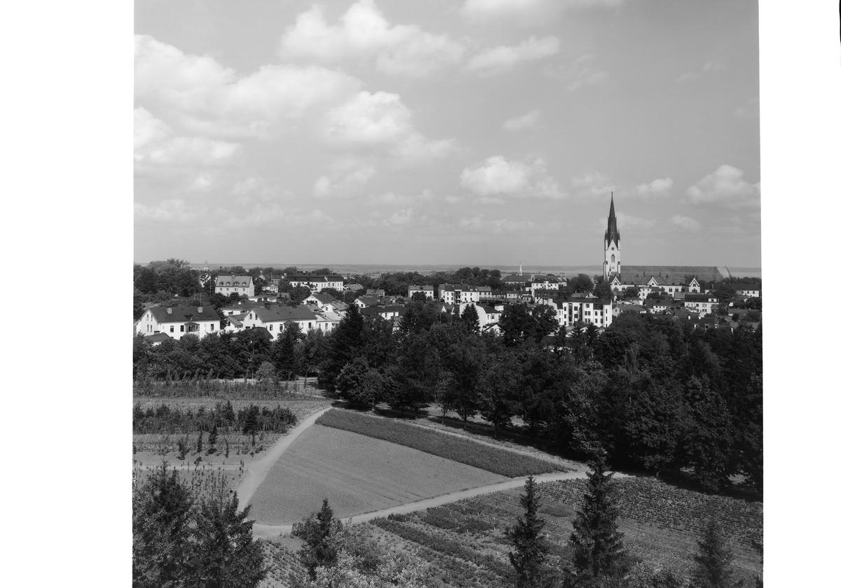 Vy från Belvederen mot nordnordväst, Linköping (serie 4/6). Utsikt. Linköpings stad. Domkyrkan.