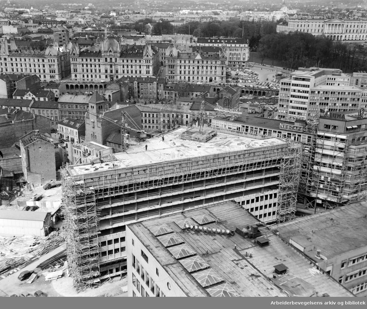 Vestre Vika sett fra Rådhuset. Mai 1958