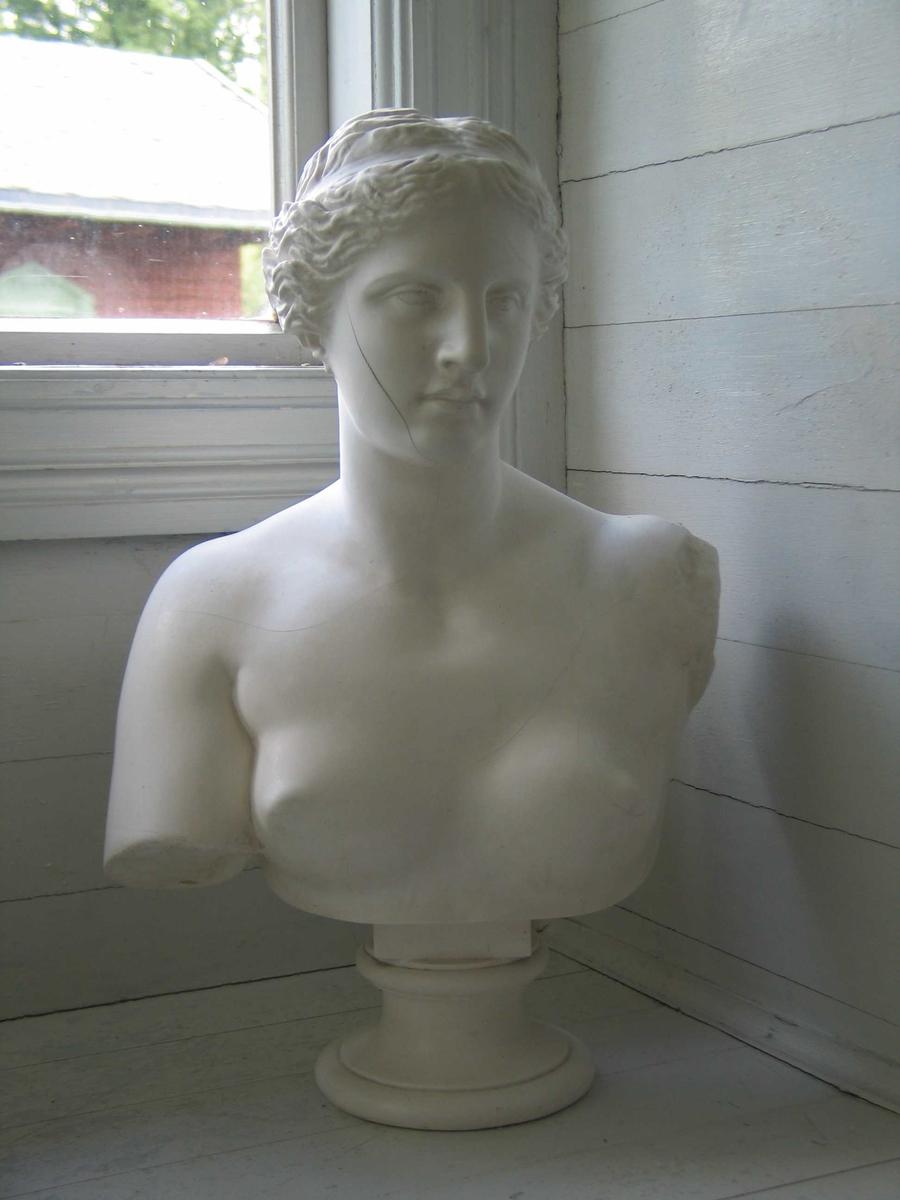 Ung kvinne, klassisk utseende. Bysten er en gjengivelse av hodet til den berømte skulpturen Afrodite fra Milos (Venus fra Milo) i Louvre i Paris.