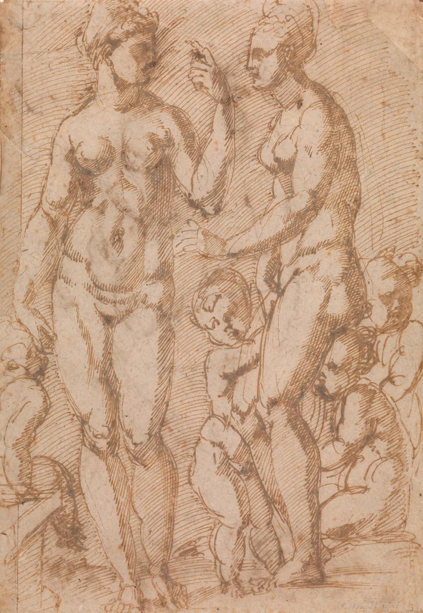 To nakne kvinner og fire små barn [Tegning]