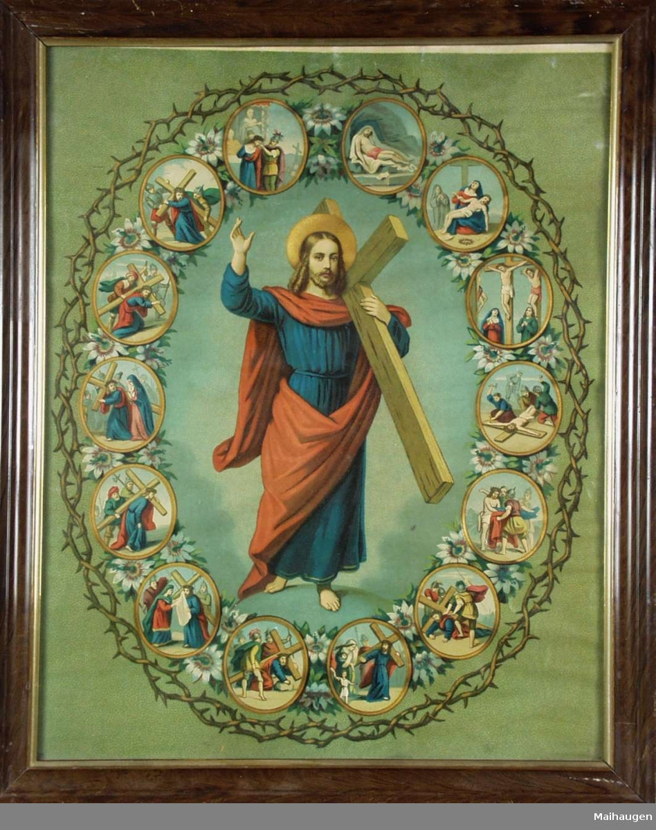Jesus med korset og 14 mindre motiver.