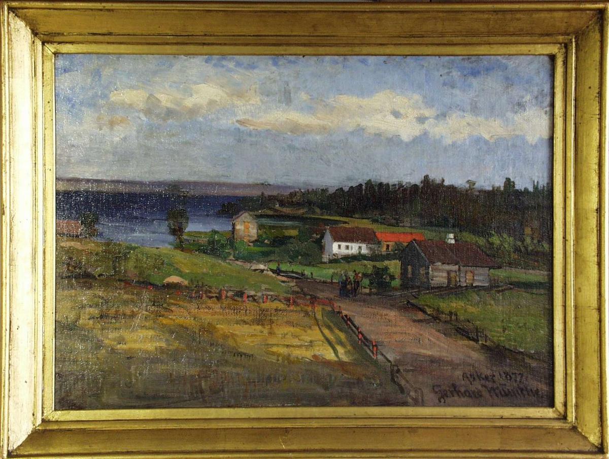 Landskap ved fjorden i Asker