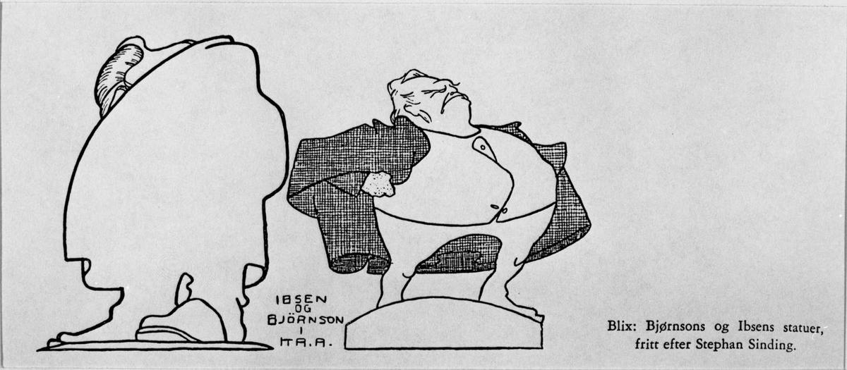 Karikatur, Ibsen, Bjørnson, Sinding, Blix