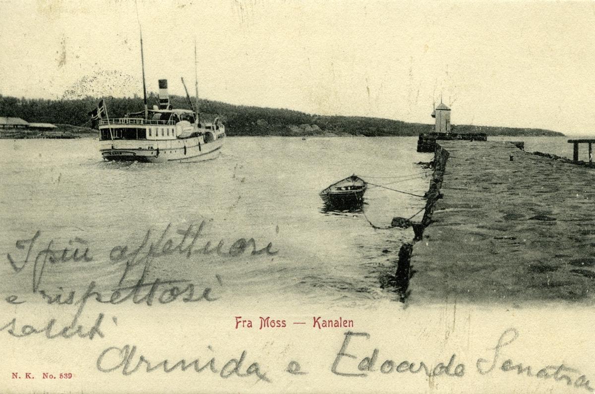 Moss - kanalen, postkort, sendt Bjørnson,