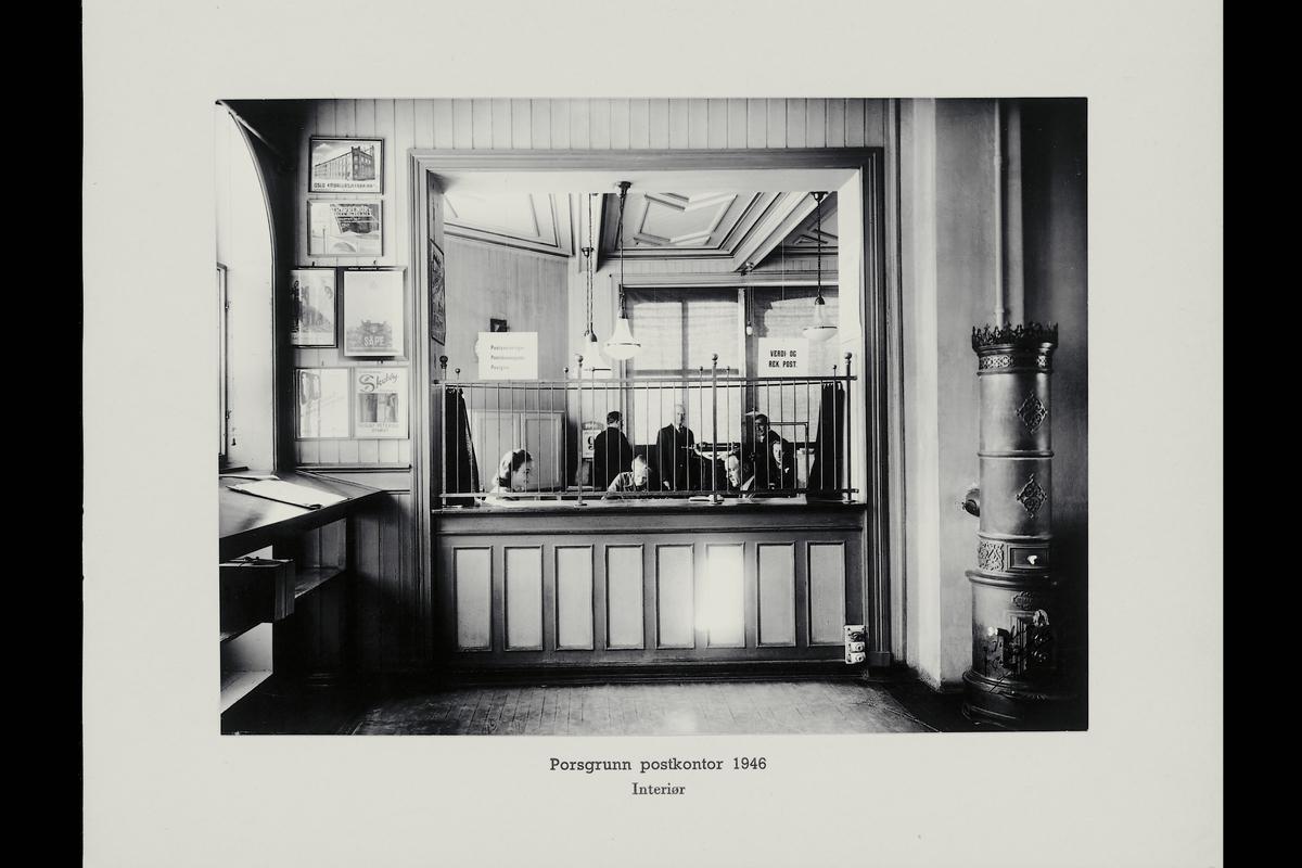 interiør, postkontor, 3900 Porsgrunn, publikumshall, ekspeditør, personale