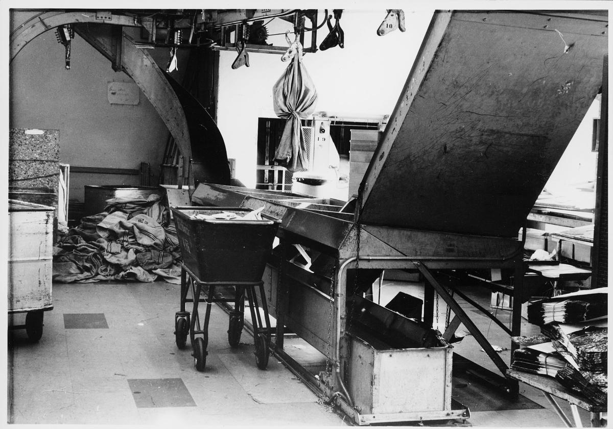 interiør, brevavdelingen, Oslo, Dronningensgate 15, maskiner
