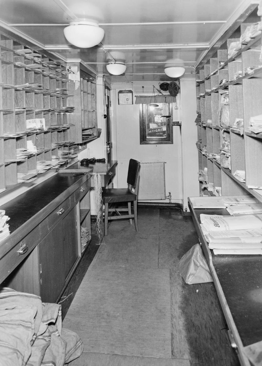 transport båt, interiør, postlugaren i Hjørungavåg