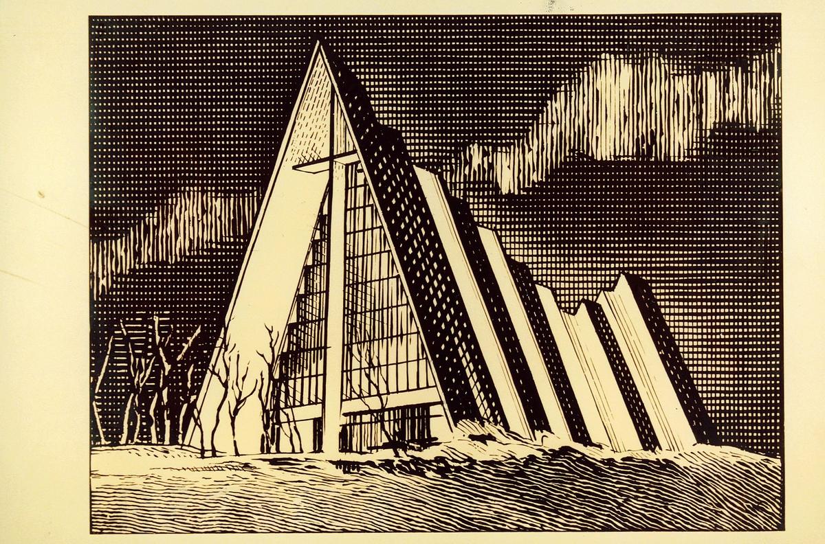 Postmuseet, frimerker, tegning, skisse, NK 881, 26. februar 1981, s/hv, byggverk III, Tromsdalen kirke - Ishavskatedralen, kunstner: Knut Løkke-Sørensen.