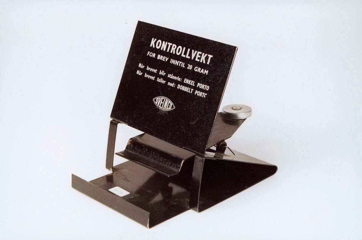 Postmuseet, gjenstander, vekt, brevvekt, kontrollvekt for brev inntil 20 gram.