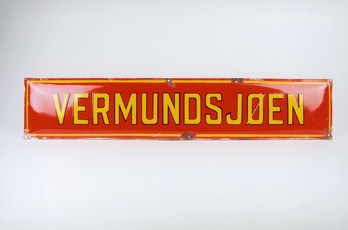 Postmuseet, gjenstander, skilt, stedskilt, stedsnavn, Vermundsjøen.
