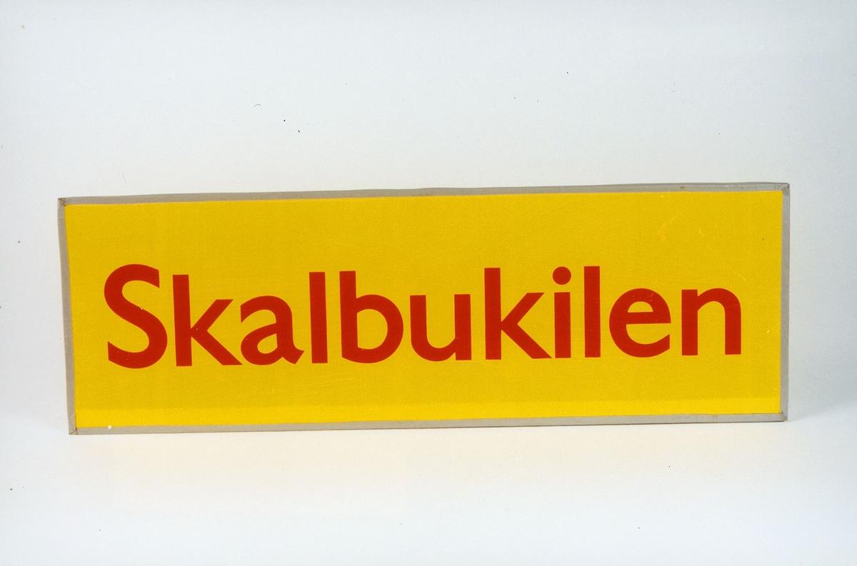 Postmuseet, gjenstander, skilt, stedskilt, stedsnavn, Skalbukilen.