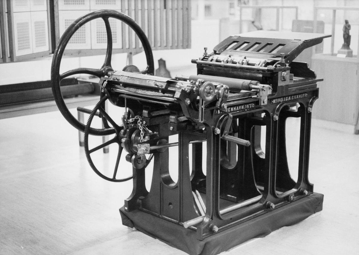 postmuseet, gjenstander, frimerketrykking, trykkpresse, Christian Holtermann Knudsens trykkemaskin nyttet til frimerketrykking i slutten av 1800-årene
