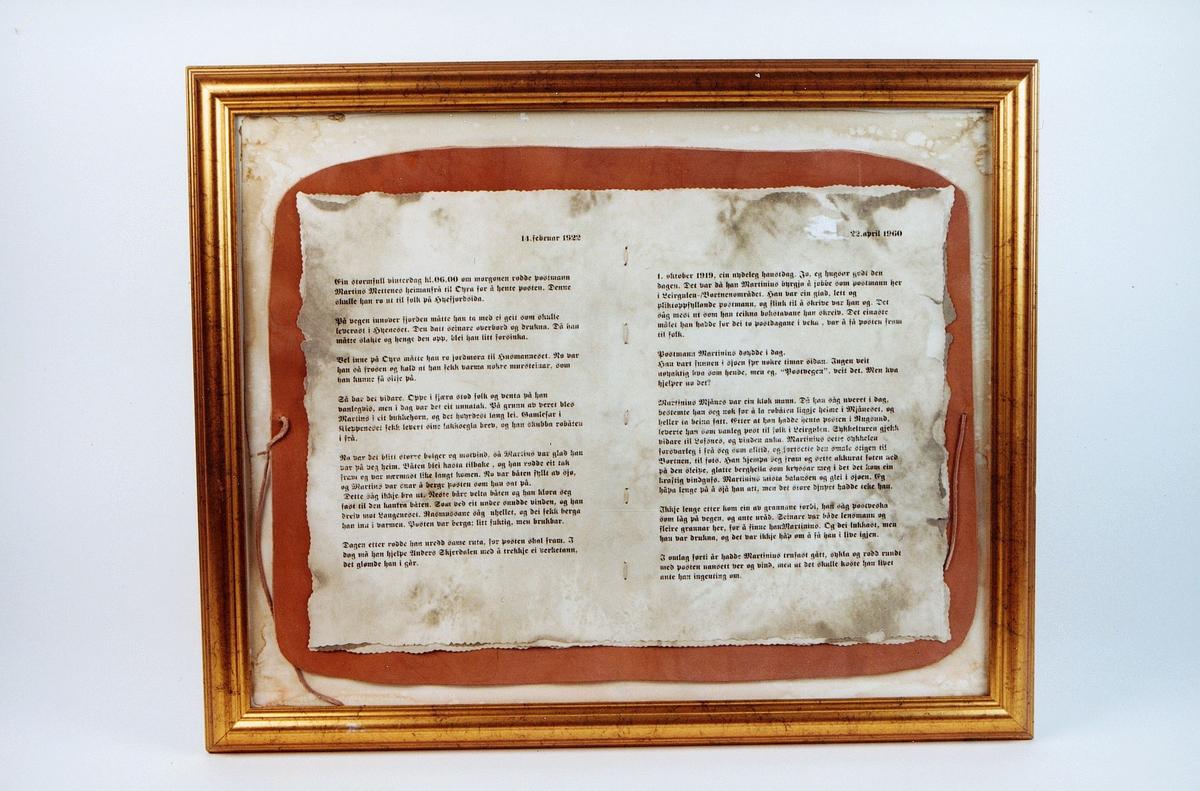postmuseet, gjenstander, bilde, innrammet tekst, beskrivelse av postmann Martinius