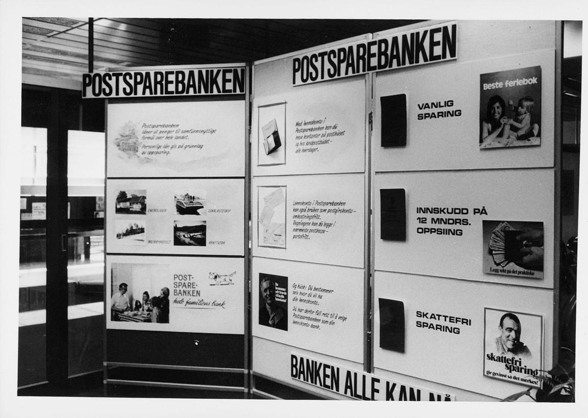 markedsseksjonen, Oslo postgård 50 år, utstilling, postsparebanken, informasjon