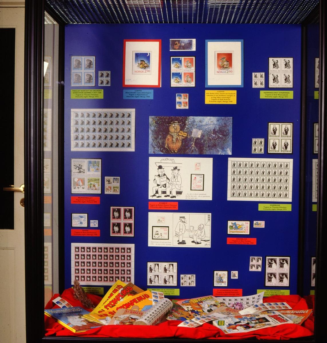 postmuseet, Kirkegata 20, utstilling, frimerker, bokillustrasjoner, eventyrfigurer, motiv av Kjell Aukrust, Theodor Kittelsen, Erik Werenskiold