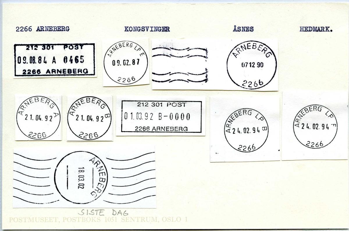 Stempelkatalog, 2266 Arneberg, (Hof i Solør), Kongsvinger, Åsnes, Hedmark