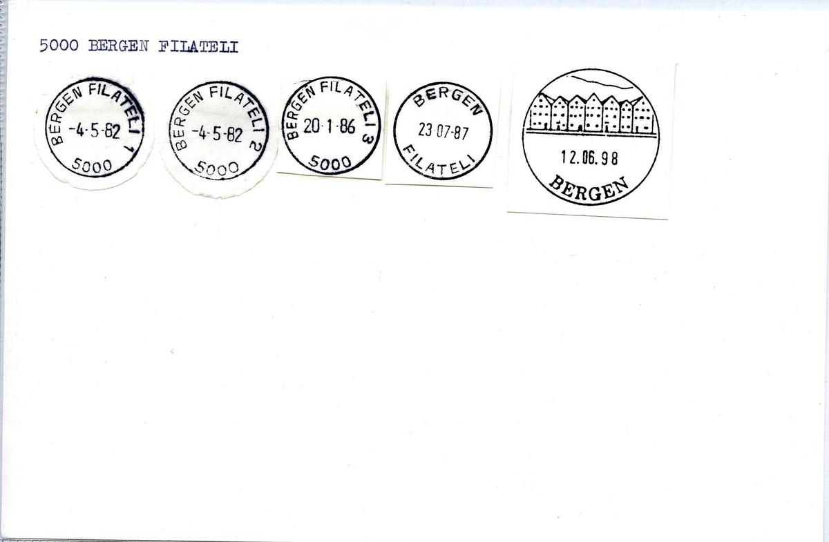 Stempelkatalog, Bergen postkontor. Filateli. Bergen kommune. Hordaland fylke.