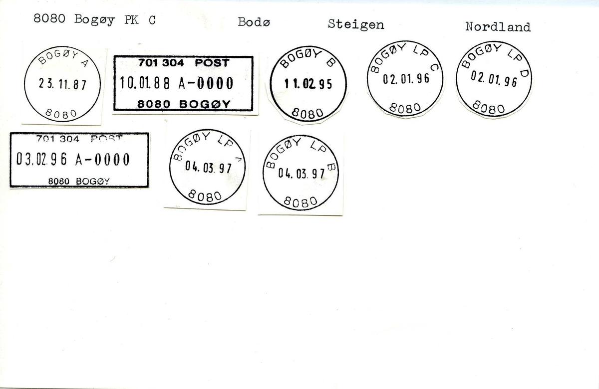 Stempelkatalog, 8080 Bogøy (Bogøen), Bodø, Steigen, Nordland