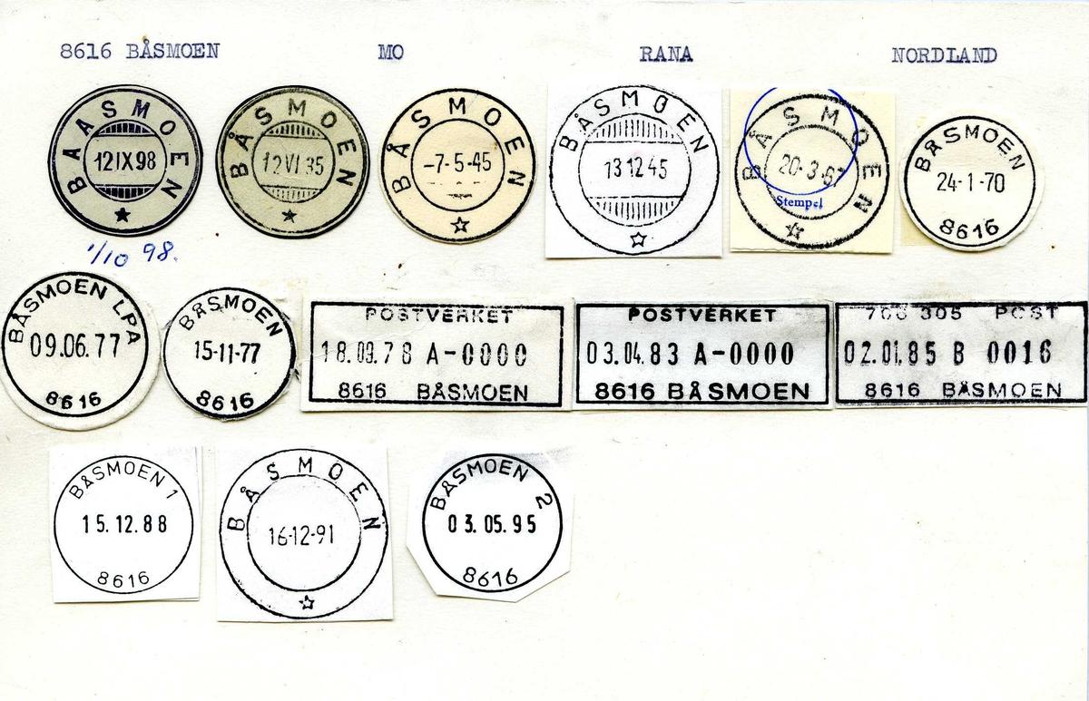 Stempelkatalog, 8616 Båsmoen, Mo, Rana, Nordland (Baasmoen)