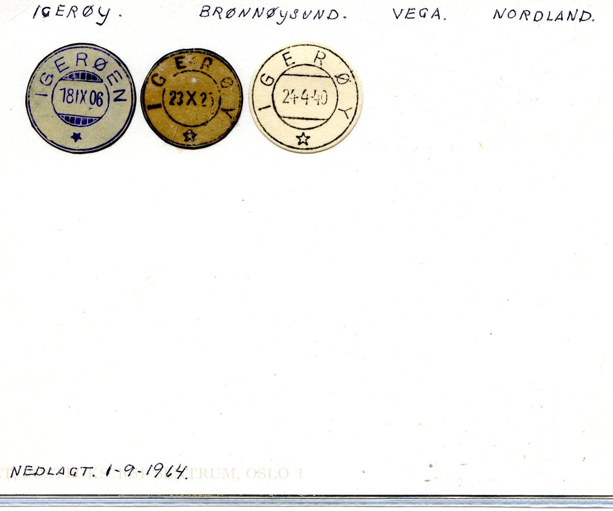 Stempelkatalog. Igerøy. Brønnøysund postkontor. Vega kommune. Nordland fylke.