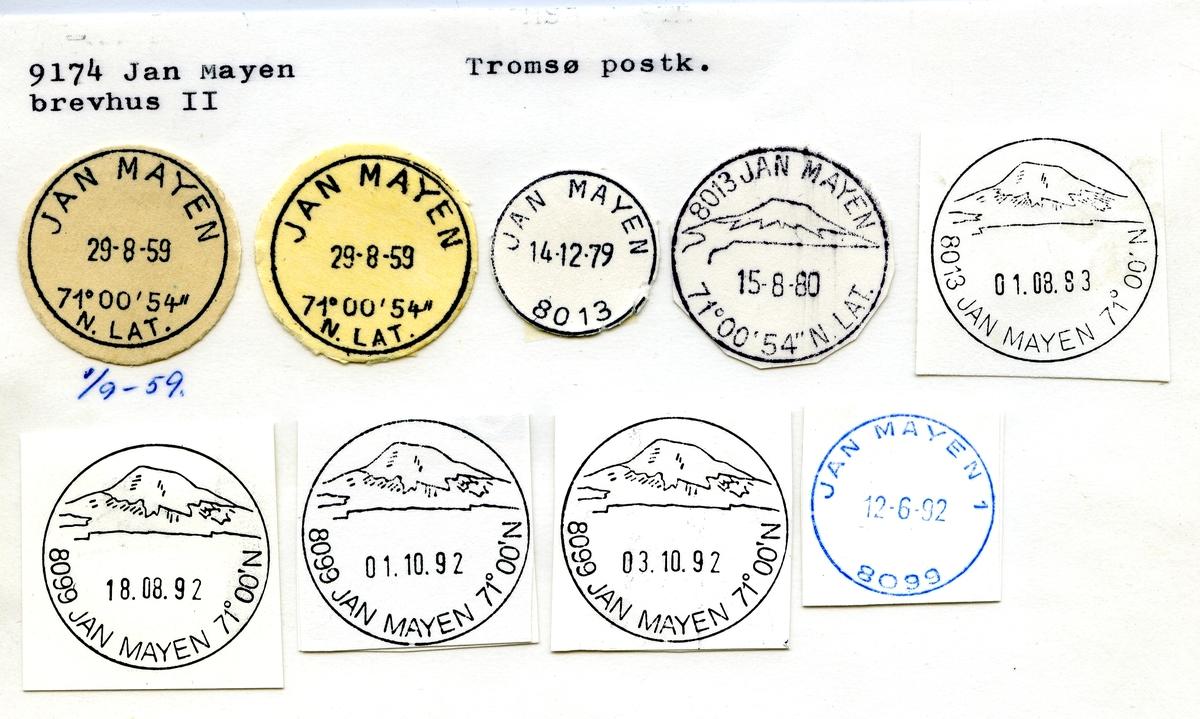 Stempelkatalog. 9174 Jan Mayen brevhus II, Tromsø postkontor, Tromsø kommune, Troms
