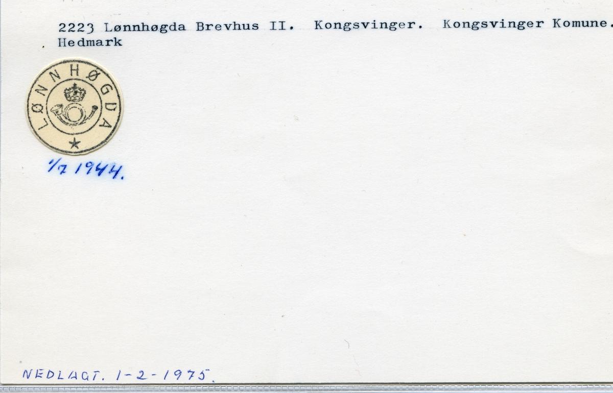 Stempelkatalog, 2223 Lønnhøgda Brevhus II, Kongsvinger kommune, Hedmark