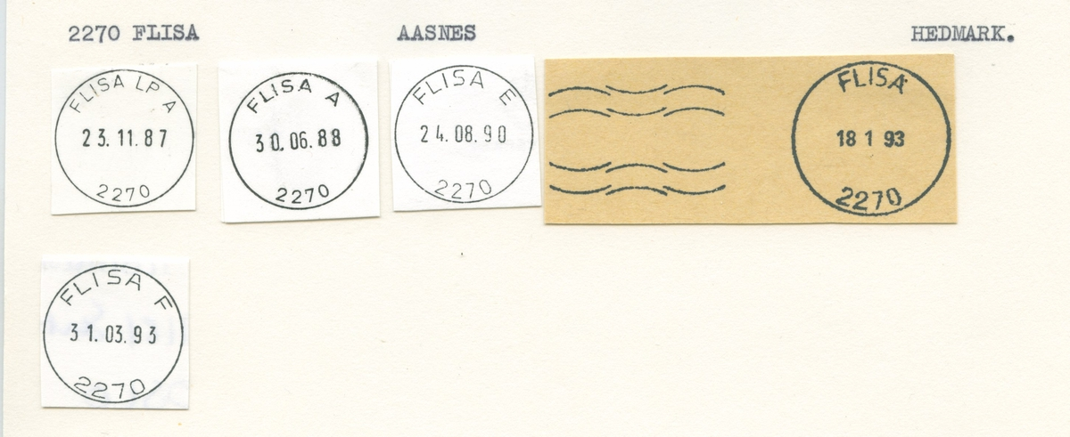 Stempelkatalog, 2270 Flisa (Aasnæs, Aasnes), Åsnes, Hedmark